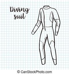 bosquejo, illustration., estilo, vector, traje, buceo