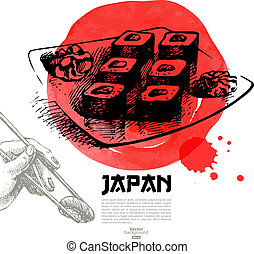 bosquejo, illustration., menú, sushi, japonés, mano, ...