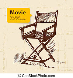 bosquejo, illustration., película, mano, plano de fondo,...