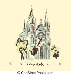 bosquejo, illustration., s., munich, mano, iglesia,...