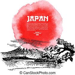 bosquejo, illustration., sushi, japonés, mano, acuarela,...