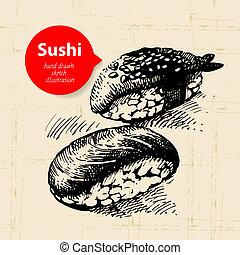 bosquejo, illustration., sushi, mano, plano de fondo,...