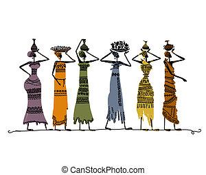 bosquejo, jarras, diseño, étnico, su, mujeres