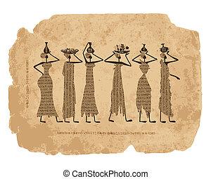 bosquejo, jarras, egipto, diseño, su, mujeres