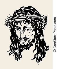 bosquejo, jesús, dibujo, salvador