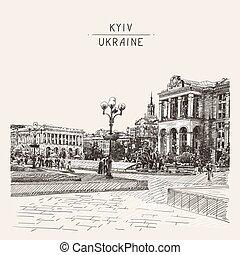 bosquejo, khreshchatyk, calle, reino unido, digital, ...