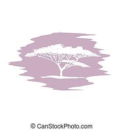 bosquejo, logotype., árbol, mano, vector, plano de fondo, mancha, blanco, acacia, dibujo