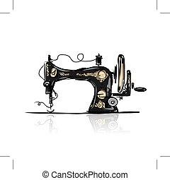 bosquejo, máquina de coser, diseño, retro, su