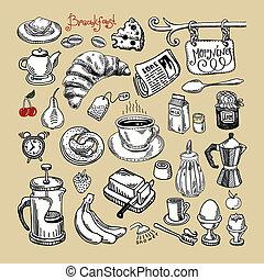 bosquejo, mañana, desayuno, conjunto