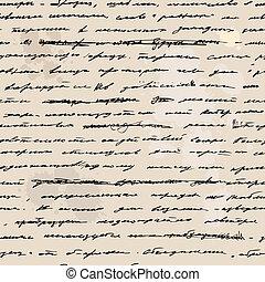bosquejo, mano, text., escrito