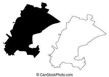 bosquejo, mapa, taif, al-mukarrammah, region), ilustración, ...