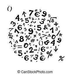 bosquejo, marco, símbolos, diseño, su, matemáticas