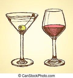 bosquejo, martini, y, vidrio vino, en, vendimia, estilo