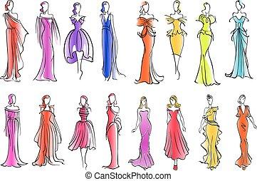 bosquejo, moda, colorido, modelos, estilo, vestidos