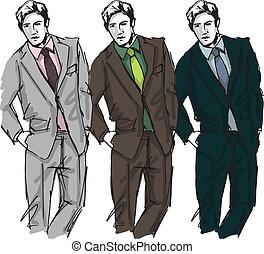 bosquejo, moda, ilustración, vector, man., guapo