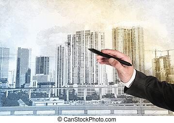 bosquejo, moderno, arquitecto, hombre de negocios, hogar, dibujo