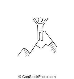 bosquejo, montañismo, icon.