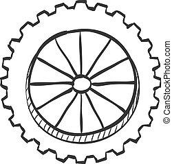 bosquejo, -, motocicleta, neumático, icono