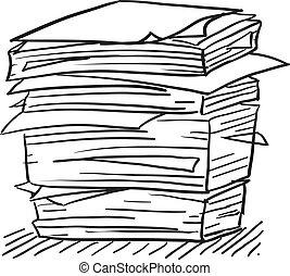 bosquejo, mucho, papeleo