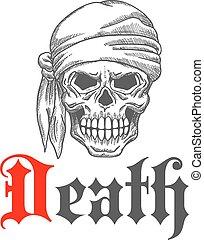 bosquejo, mueca, pirata, cráneo, bandanna