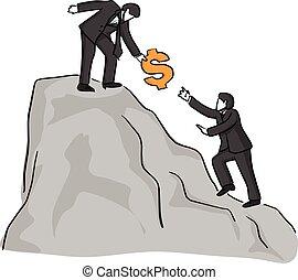 bosquejo, muestra del dólar, montaña, garabato, cima, aislado, negro, dibujado, blanco, amigo, colega, ilustración, mano, porción, plano de fondo, montañismo, líneas, arriba, vector, hombre de negocios, o