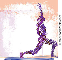 bosquejo, mujer, resumen, yoga., meditar, ilustración,...