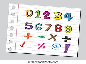 bosquejo, números, y, matemáticas, symb