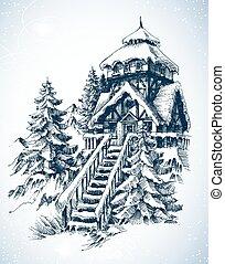 bosquejo, naturaleza del invierno, casa, nieve, árboles, pino