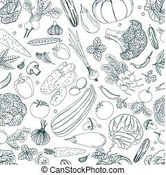 bosquejo, naturaleza, vegetales, seamless, textura, desig, su