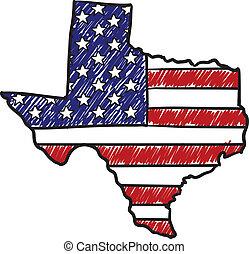 bosquejo, norteamericano, tejas