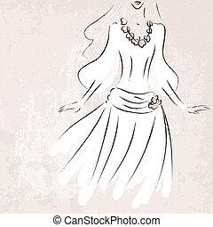 bosquejo, novia en vestido de novia, en, grungy, plano de fondo