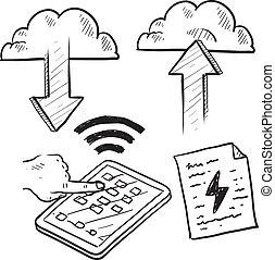 bosquejo, nube, informática