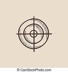 bosquejo, objetivo que dispara, icon.