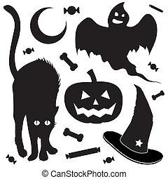 bosquejo, objetos, halloween