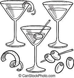 bosquejo, objetos, martini