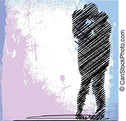 bosquejo, pareja, ilustración, vector, kissing., resumen