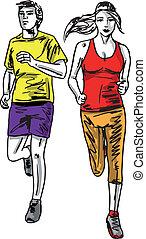 bosquejo, pareja, runners., ilustración, vector, maratón