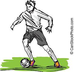 bosquejo, patear, ilustración, jugador, vector, futbol, ball...