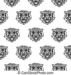 bosquejo, patrón, estilo, seamless, tiger., dibujado, mano