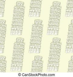 bosquejo, patrón, seamless, pisa, vector, torre