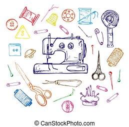 bosquejo, pelota, tejido de punto, tijeras, hilo, aguja, ilustración, mano, vector, crochet., hilo, agujas, dibujado, style.