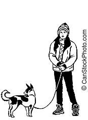 bosquejo, perro, chaqueta, vector, pequeño, niña, onleashp