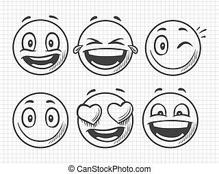 bosquejo, positivo, mano, vector, sonrisa, dibujado, emojis