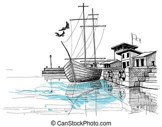 bosquejo, puerto, ilustración, orilla, vector, barco
