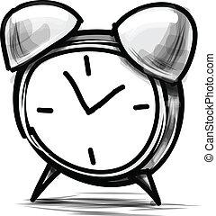 bosquejo, reloj, alarma, ilustración, vector, caricatura