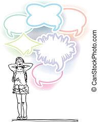 bosquejo, ruido, cubierta, ilustración, vector, niña, ...