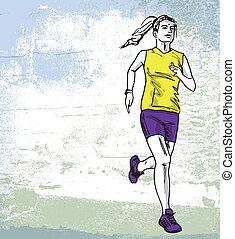 bosquejo, runner., ilustración, vector, hembra, maratón