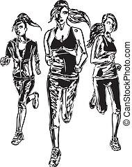 bosquejo, runners., ilustración, vector, maratón, mujeres