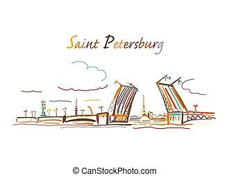 bosquejo, símbolo, diseño, santo, russia., puente levadizo, petersburg, su