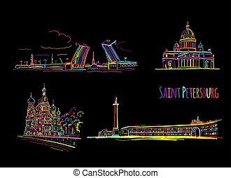 bosquejo, símbolos, diseño, santo, russia., petersburg, su
